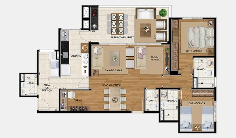 Royale Trésor – Planta opção de 109 m² com 2 dorms.