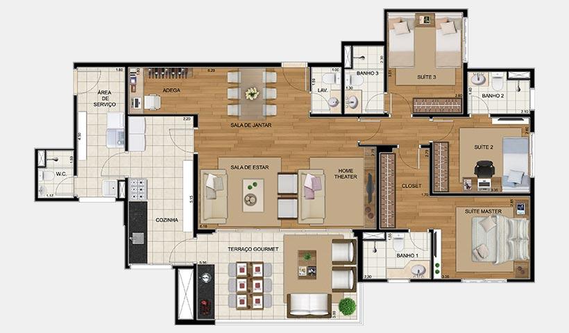 Royale Trésor – Planta opção de 135 m² com 3 dorms.