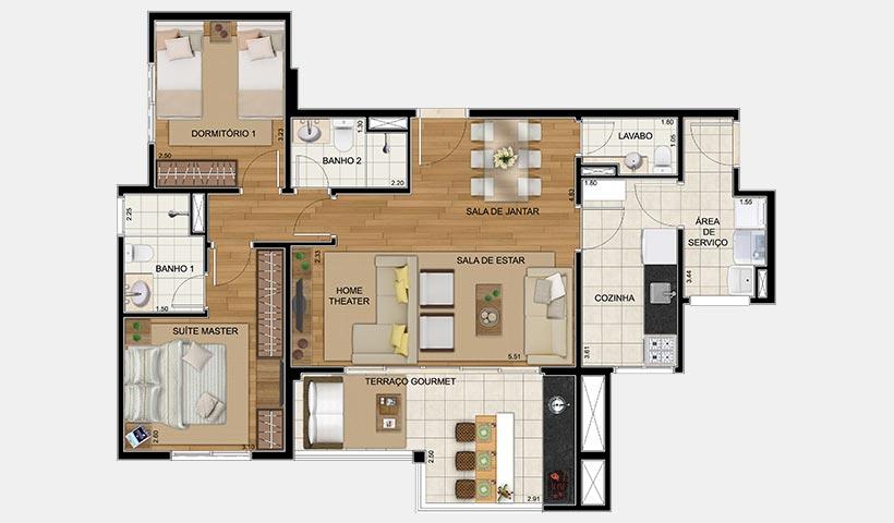 Royale Trésor – Planta opção de 86 m² com 2 dorms.