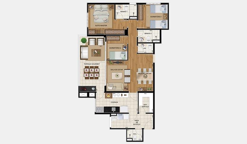 Royale Trésor – Planta de 109 m² com 3 dorms.
