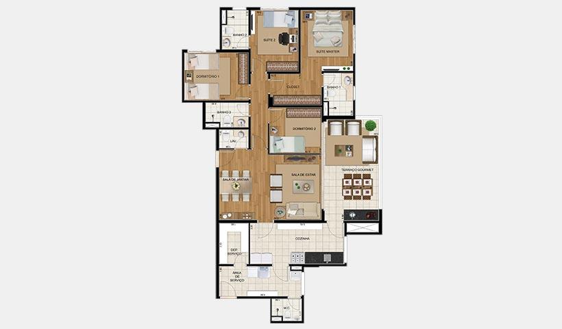 Royale Trésor – Planta de 135 m² com 4 dorms.