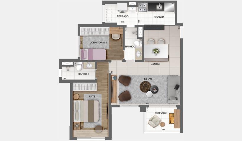 Sky House - Planta opção com living ampliado de 72 m² - Final 6