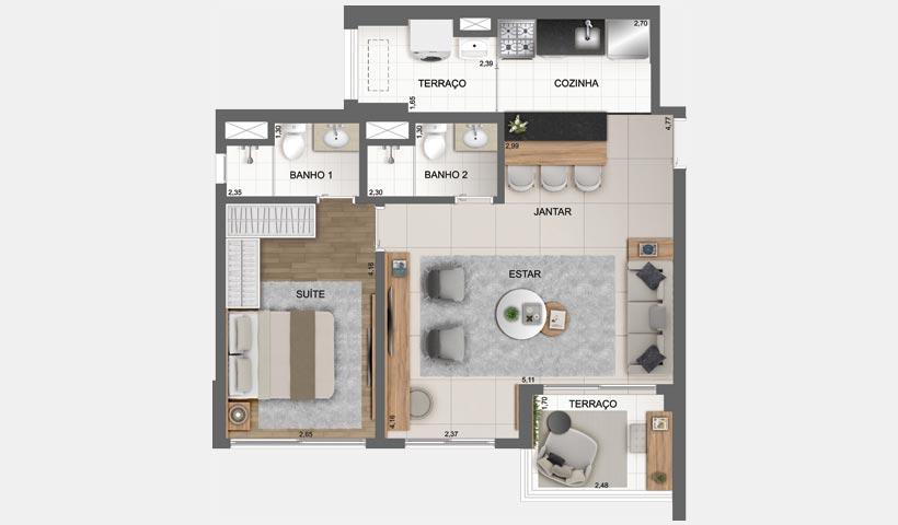 Sky House - Planta opção de 61 m² - Final 3