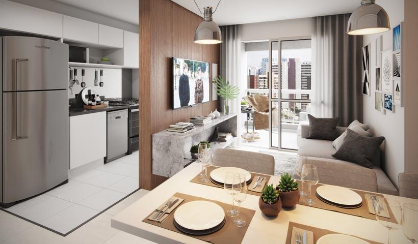 Sky House – Living do apto. De 61 m²