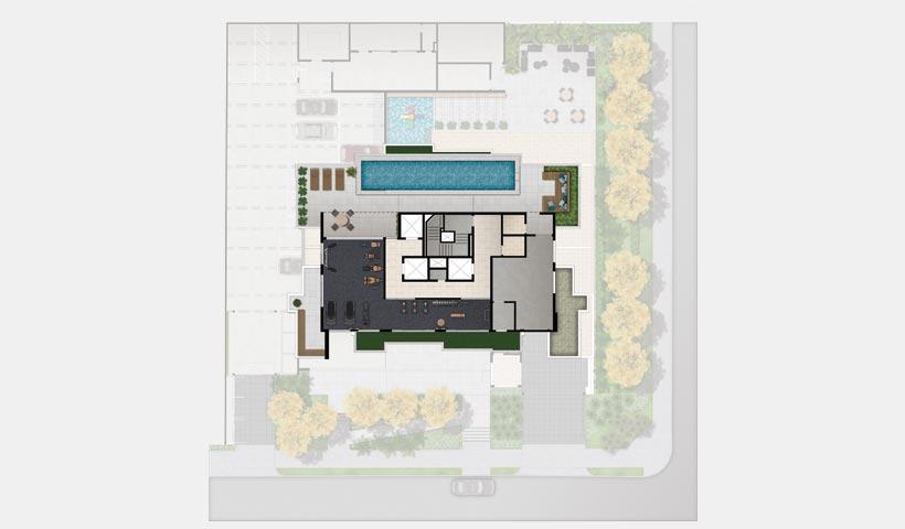 Sky House – Implantação do lazer cobertura