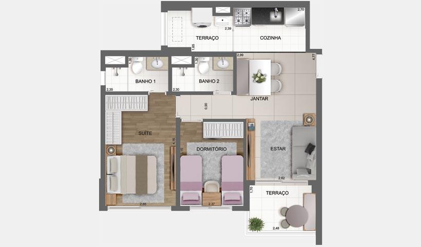 Sky House – Planta tipo de 61 m² - Final 3