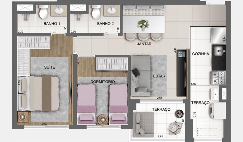 Sky House – Planta tipo de 61 m²