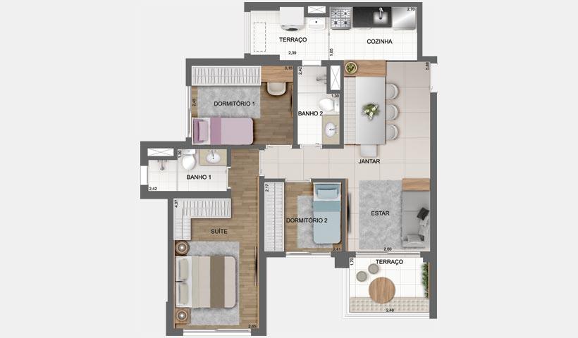 Sky House - Planta tipo de 72 m² – Final 6