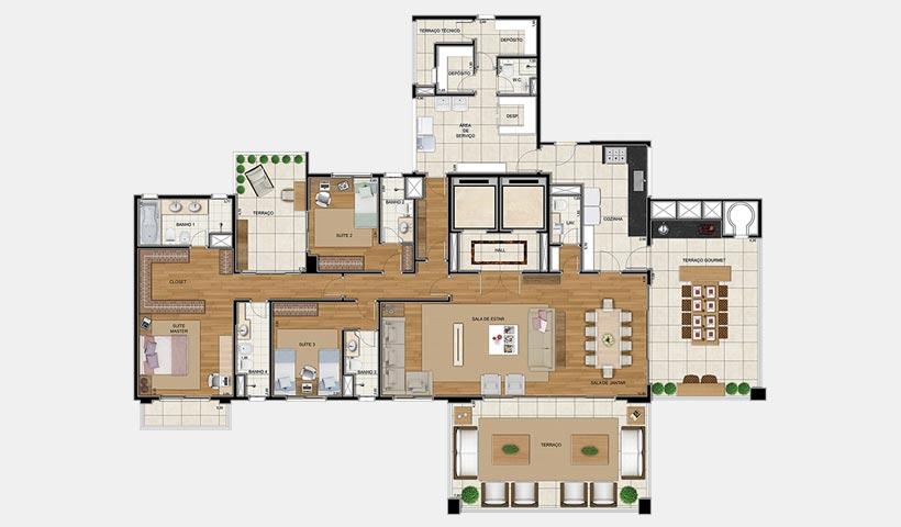 Sophis Ibirapuera – Planta opção 306 m²