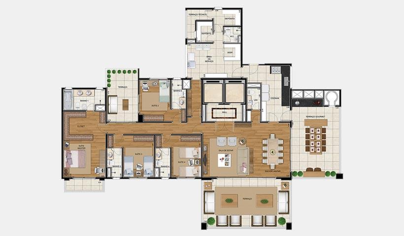 Sophis Ibirapuera – Planta tipo 306 m²
