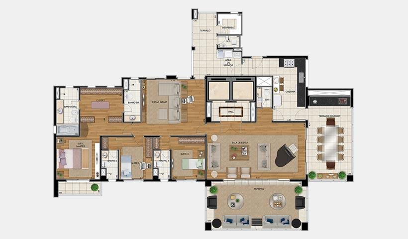 Sophis Santana – Planta opção 1 264 m² 3 dorms.