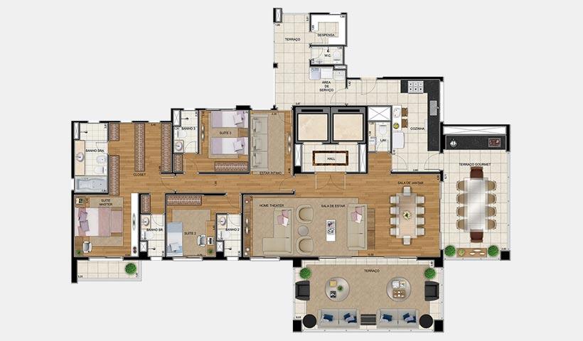 Sophis Santana – Planta opção 2 264 m² 3 dorms.