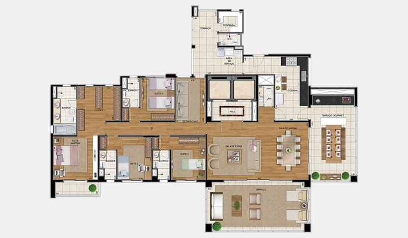 Sophis Santana – Planta tipo 264 m² 4 dorms.