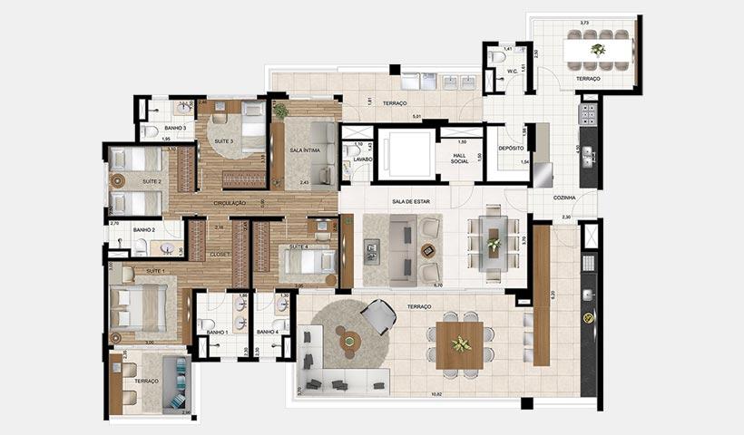 Splendor Brooklin – Planta 213 m² 4 suítes