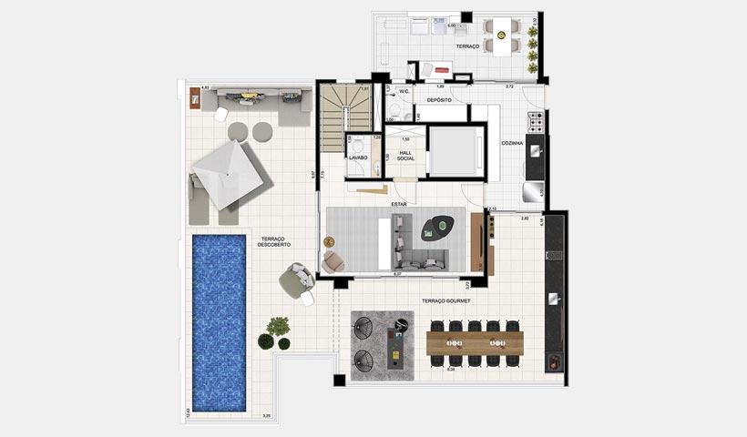 Splendor Ipiranga – Planta opção duplex superior 330 m²