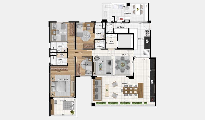 Splendor Ipiranga – Planta 170 m² 4 dorms.