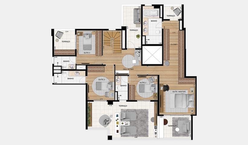 Splendor Ipiranga – Planta duplex 330 m² 4 suítes