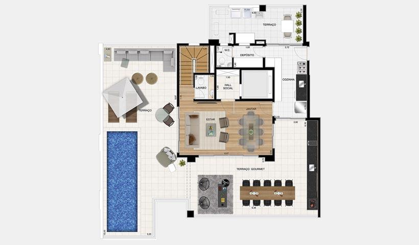 Splendor Ipiranga – Planta tipo duplex superior 330 m²