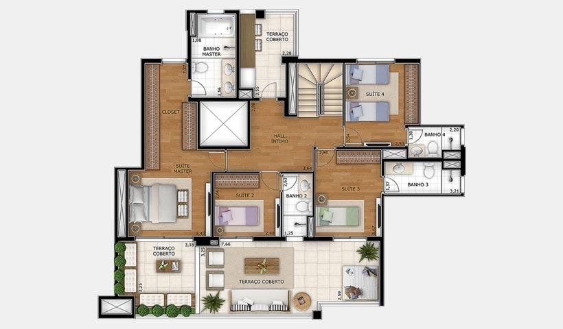Splendor Vila Mariana – Planta duplex inferior 307 m²