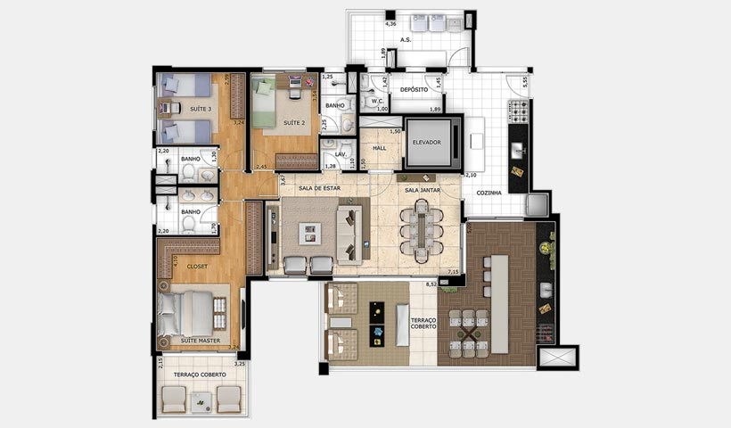 Splendor Vila Mariana – Planta 163 m² 3 suítes