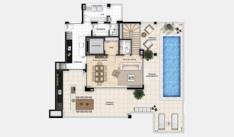 Splendor Vila Mariana – Planta duplex superior 307 m²