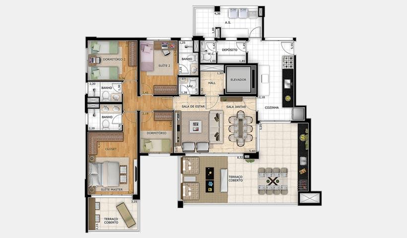 Splendor Vila Mariana – Planta 162 m² 4 dorms.