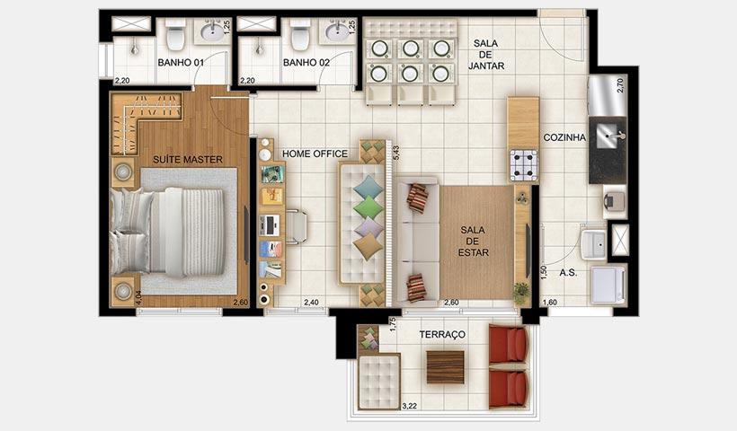 Still Vila Mascote – Planta 64 m² 1 dorm.