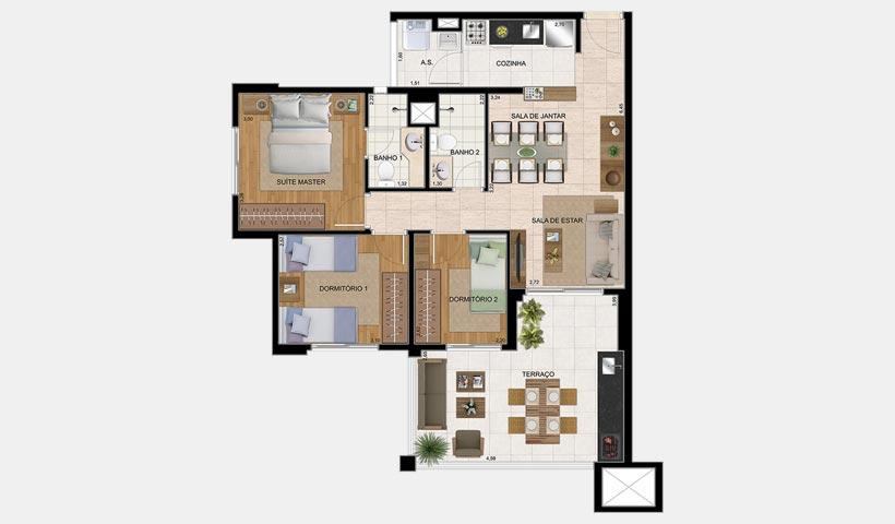 The View – Planta opção de 82 m²