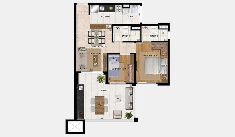 The View – Planta tipo de 67 m²