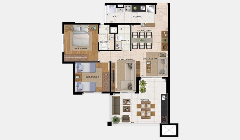 The View – Planta tipo de 82 m²