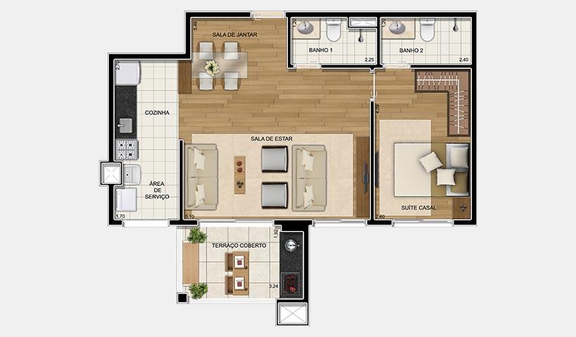 Up Home Granja Julieta – Planta opção de 66 m²