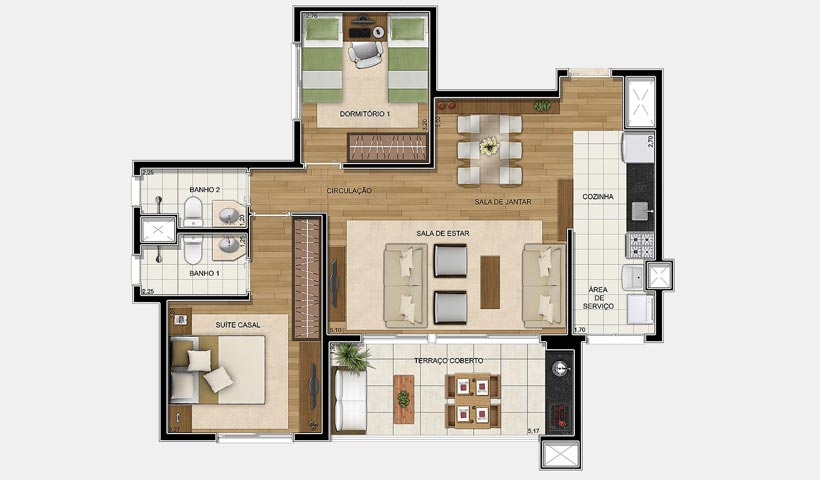 Up Home Granja Julieta – Planta opção de 81 m²