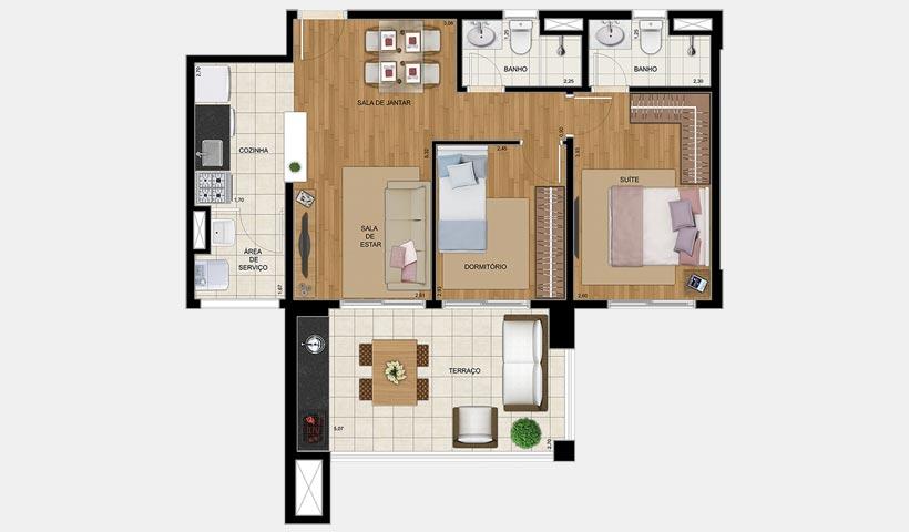 Up Home Jd. Prudência – Planta de 72 m²