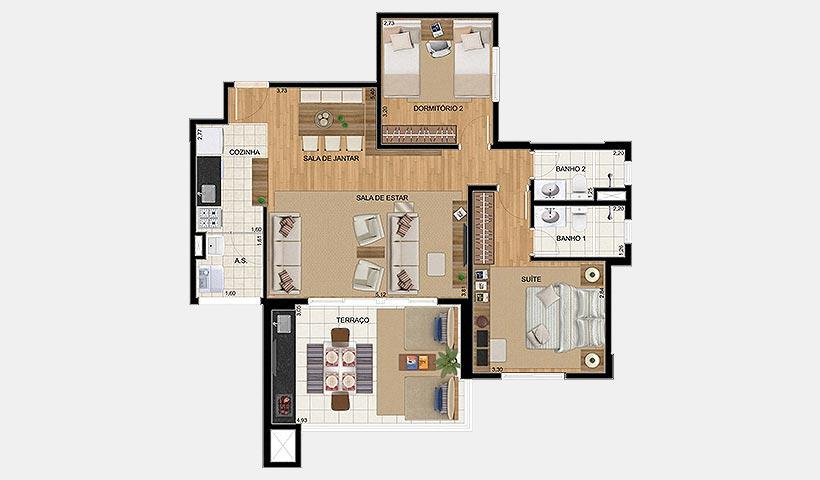 Up Home Vila Carrão – Planta opção de 86 m²