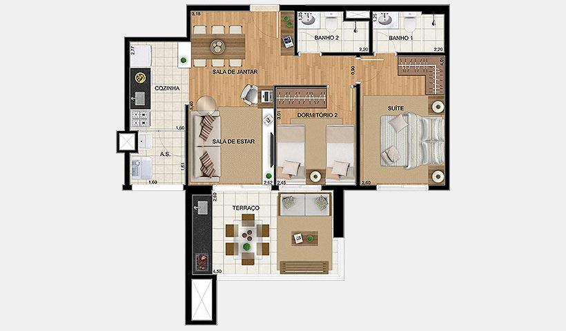 Up Home Vila Carrão – Planta tipo de 68 m²