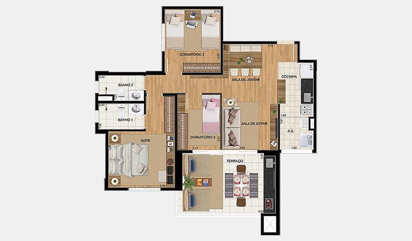 Up Home Vila Carrão – Planta tipo de 86 m²