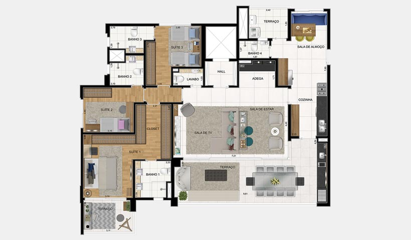 Verace Brooklin – Planta de 181 m² com 3 dorms.