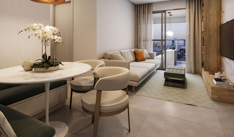 Vero Ipiranga – perspectiva ilustrada do living do apto. de 62 m² privativos com sugestão de decoração - final 3