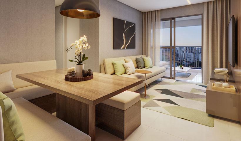 Vero Ipiranga – perspectiva ilustrada do living do apto. de 62 m² privativos com sugestão de decoração - final 5