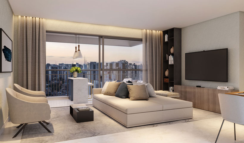 Vero Ipiranga – perspectiva ilustrada do living do apto. de 75 m² privativos com sugestão de decoração - final 1