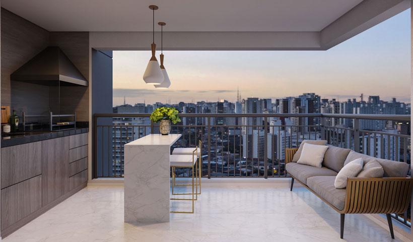 Vero Ipiranga – Perspectiva ilustrada do terraço do apto. de 75 m² privativos com sugestão de decoração - final 1