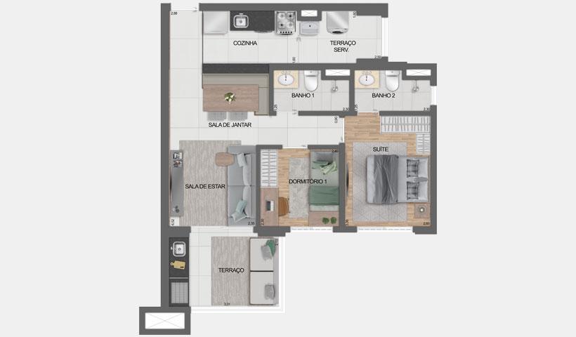 Vero Ipiranga – planta opção do apto. De 62 m² privativos com sugestão de decoração - final 5