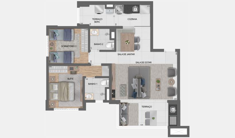 Vero Ipiranga – planta opção do apto. De 75 m² privativos com sugestão de decoração - final 1