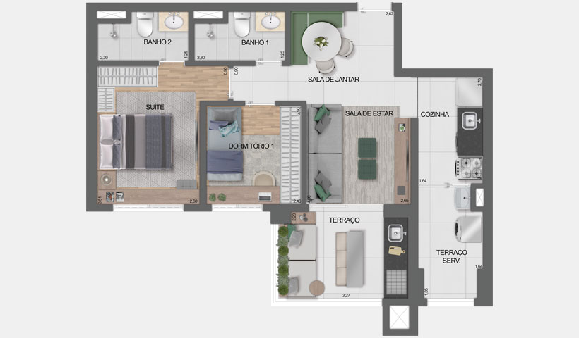 Vero Ipiranga – planta tipo do apto. De 62 m² privativos com sugestão de decoração - final 3