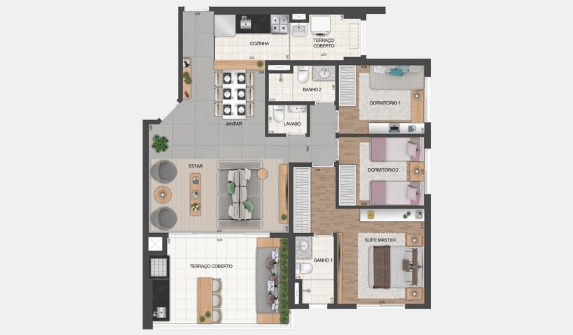 Vértiz Vila Mascote – Planta opção do apto. de 100 m² - Final 2