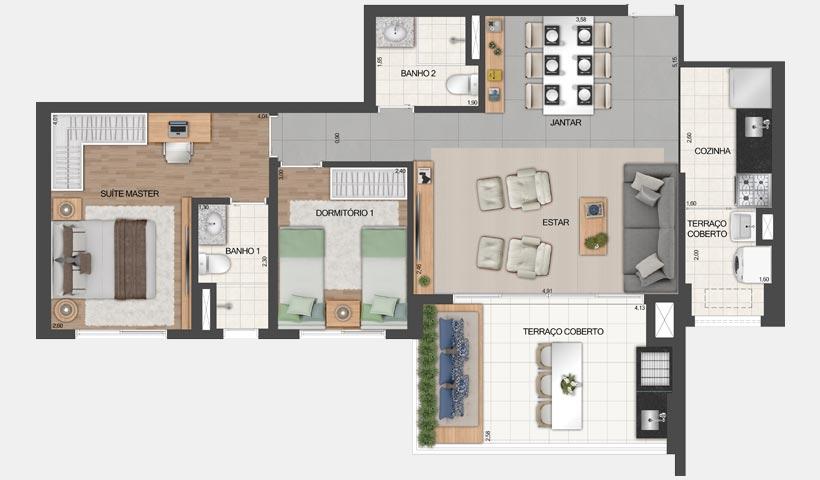 Vértiz Vila Mascote – Planta opção do apto. de 81 m² - Final 3