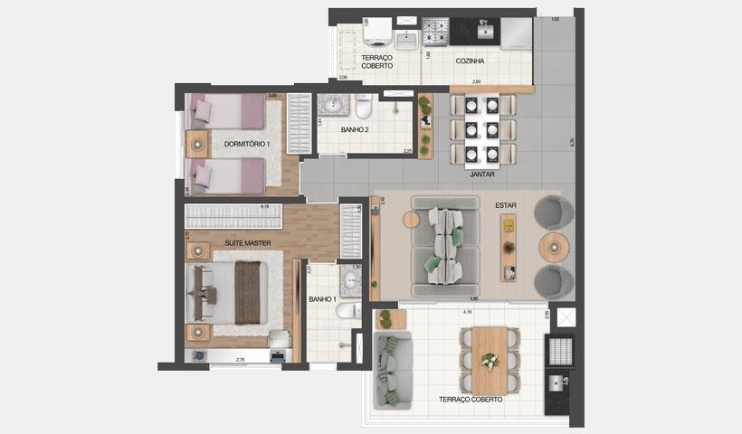Vértiz Vila Mascote – Planta opção do apto. de 81 m² - Final 4