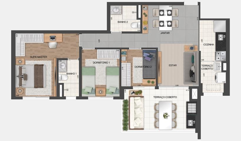 Vértiz Vila Mascote – Planta tipo do apto. de 81 m² - Final 3