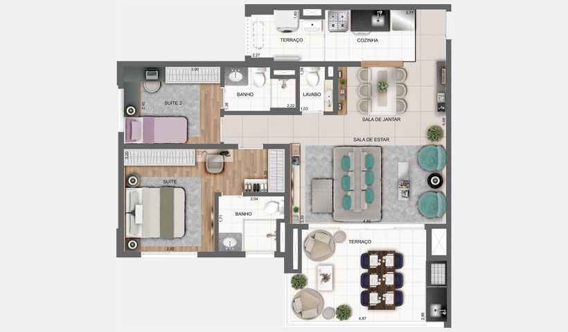 Vértiz - Planta do apto. de 85 m² com living ampliado