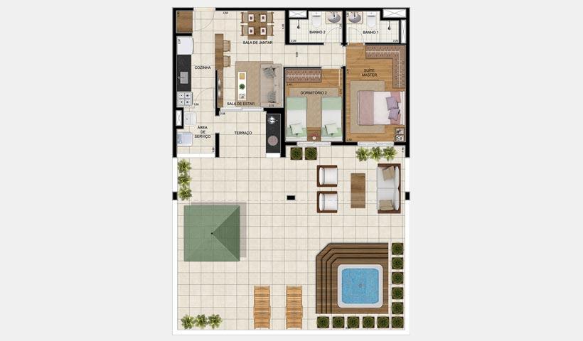 Vivart – Planta do garden de 136 m²